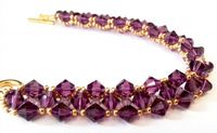 Cross-weave, Embellished Beadwork Bracelet Kit with SWAROVSKI® ELEMENTS Amethyst/Gold